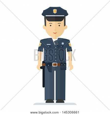 Vector police officer characner. Profession man in uniform. Design elements for marketing advertising promotion branding and media. Flat cartoon illustration. Objects isolated on white background.