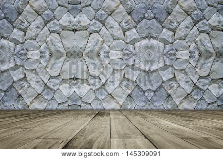 Wooden Floor  In Front Of Stone Wall Background. Perspective Brown Wood Over Wall Background ,can Be