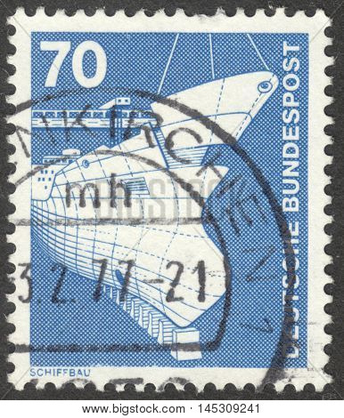 MOSCOW RUSSIA - CIRCA AUGUST 2016: a stamp printed in GERMANY shows shipbuilding the series