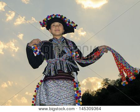 HA GIANG, VIET NAM, August 14, 2016 Hmong teenager, highland Ha Giang, Vietnam with the beauty of traditional costumes