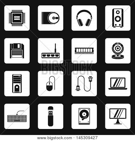 Computer equipment icons set in simple style. set collection vector illustration