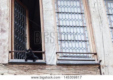 Old window in Dijon. Dijon Burgundy France