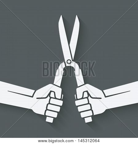 worker hands with shears. vector illustration - eps 10