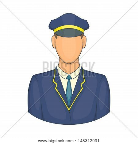 Driver of train icon in cartoon style isolated on white background. Job symbol
