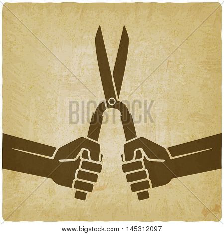worker hands with shears old background. vector illustration - eps 10