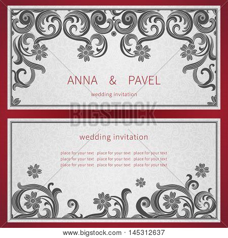 Cards With Black Curls On Scroll Work East Style Background.