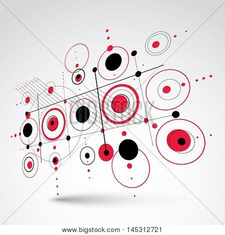 Bauhaus retro perspective red art vector background made using grid and circles. Geometric graphic 1960s illustration can be used as booklet cover design.