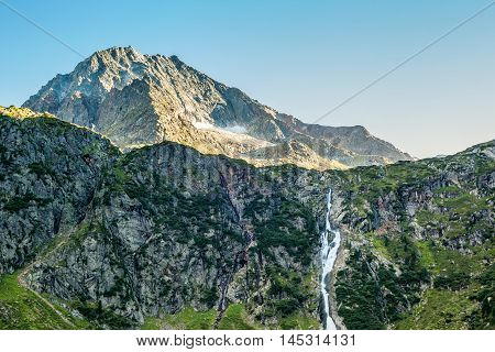 View From The Sulzenaualm, Mountains,peaks And Waterfall