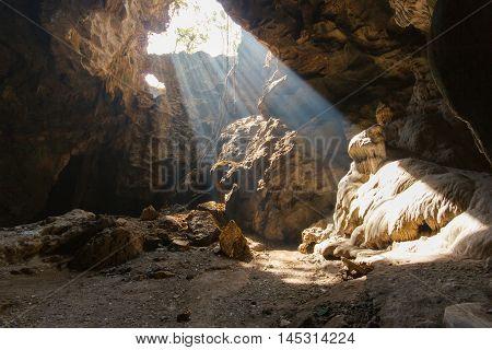 Sun beam in cave at Khao Luang Phetchaburi Province Thailand