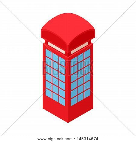 Red telephone box icon in cartoon style isolated on white background. Conversations symbol