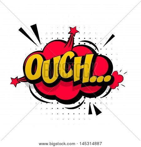 Comic red sound effects pop art vector style. Sound bubble speech with word and comic cartoon expression sounds illustration. Lettering Ouch discomfort. Comics book background template.