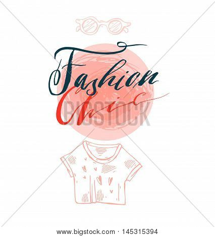 Hand drawn vector template card with handwritten lettering phase fashion chic design element for bannerspostersstickerssign fashion blog or show.