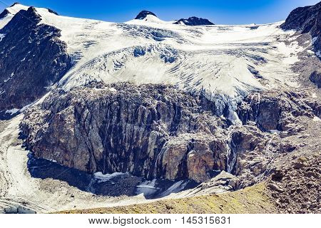 Melting Glacier With Waterfalls  In Stubai Alps