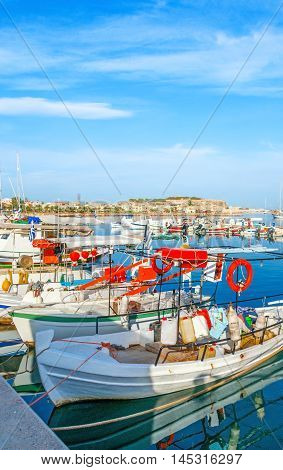 The nice resort on the coast of Aegean Sea with wide range of attractions including different trips from the new port and old harbor Rethymno Crete Greece.