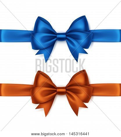 Vector Set of Shiny Orange Blue Satin Bows and Ribbons Top View Close up Isolated on White Background