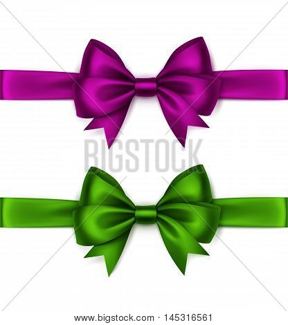 Vector Set of Shiny Magenta Purple Dark Pink Green Satin Bows and Ribbons Top View Close up Isolated on White Background