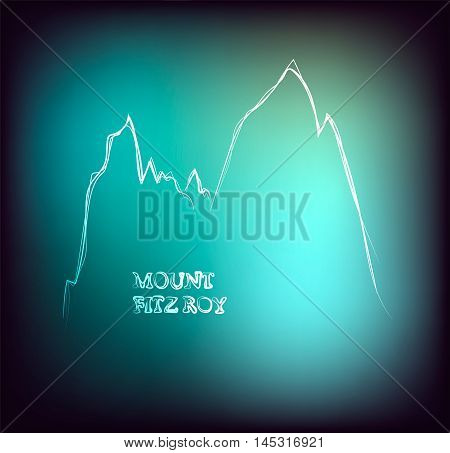 Beautiful hand drawn outline of mount Fitz Roy in Patagonia, vector illustration