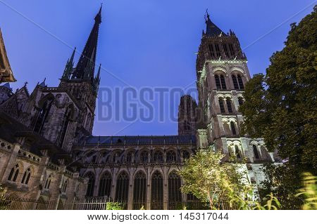 Rouen Cathedral at night. Notre-Dame Rouen Normandy France