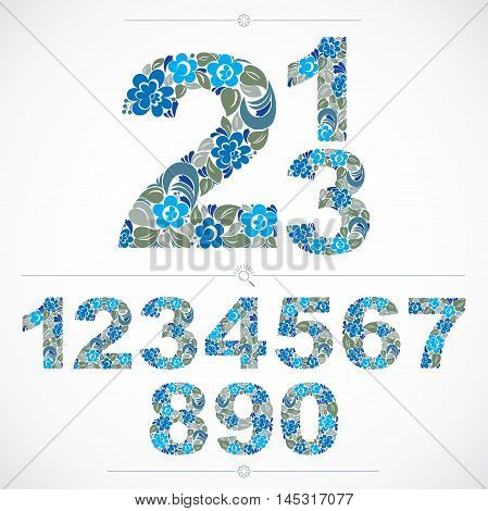 Ecology style flowery numbers blue vector numeration made using natural ornament. Digits created with spring leaves and floral design.