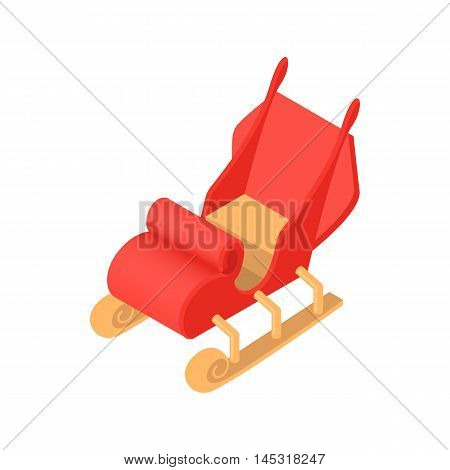 Sleigh Santa Claus icon in cartoon style isolated on white background. New year symbol