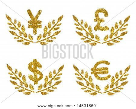 Set with Japanese Yen, British Pound, Dollar and Euro signs, twigs with leaves of golden glitter on white background. Concept of prosperity