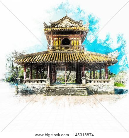 The temple in the Imperial Palace citadel at Hue in Vietnam. Hue, a UNESCO World Heritage site. Vintage painting, background illustration, beautiful picture, travel texture