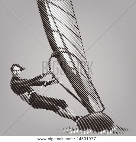 Windsurfing. Vector artwork in the style of ink drawing