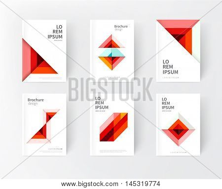 minimalistic Red cover design idea. abstract geometric modern background. yellow triangles and diagonal lines & color strips. creative concept flyer, brochure, textbook, stationery template