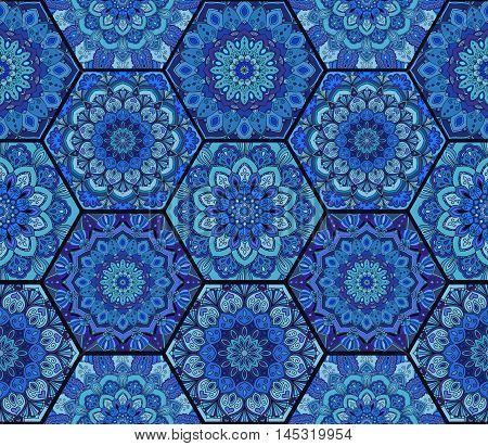 Blue Pattern. Hex boho seamless flower ornament from floral design elements. Honey comb tiles background. Intricate hexagon wallpaper, gift paper, fabric print, textile, furniture. Unusual vector.