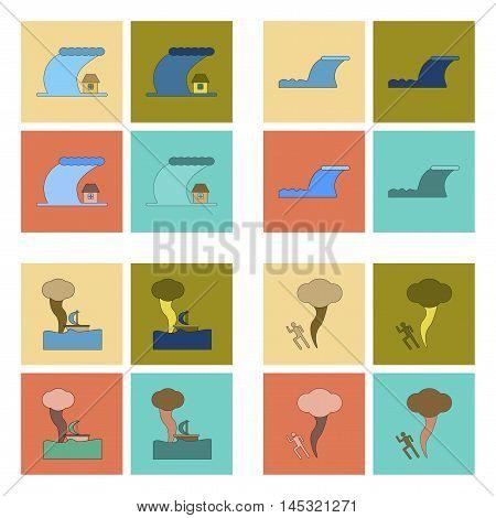 assembly of flat icons nature disaster tsunami tornado, vector