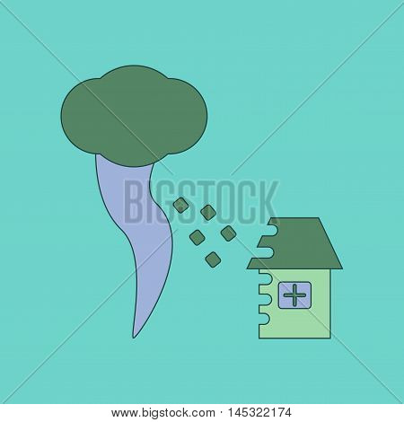 flat icon on stylish background tornado destruction house, vector