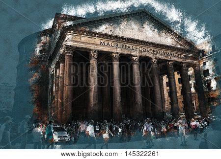 Pantheon in Rome. Modern painting, background illustration, beautiful picture, vintage image