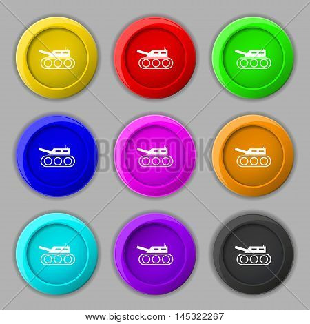 Tank, War, Army Icon Sign. Symbol On Nine Round Colourful Buttons. Vector