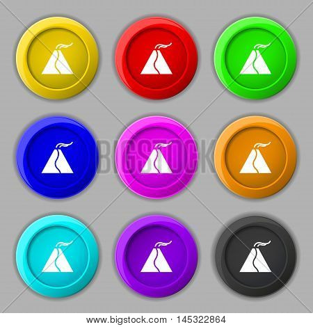 Active Erupting Volcano Icon Sign. Symbol On Nine Round Colourful Buttons. Vector