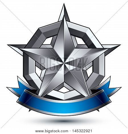 Heraldic 3d glossy blue and gray icon, can be used in web and graphic design