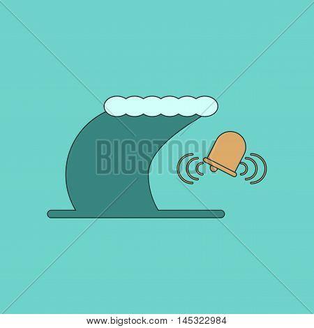 flat icon on stylish background tsunami alarming bell, vector