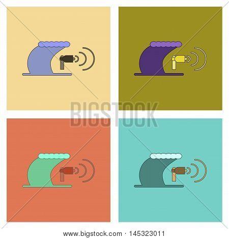 assembly of flat icons sea tsunami loudspeaker