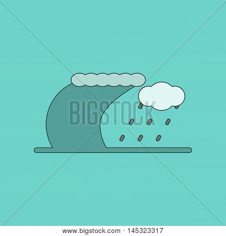 flat icon on stylish background tsunami storm, vector