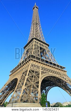 Eiffel tower on sunny morning in Paris, France