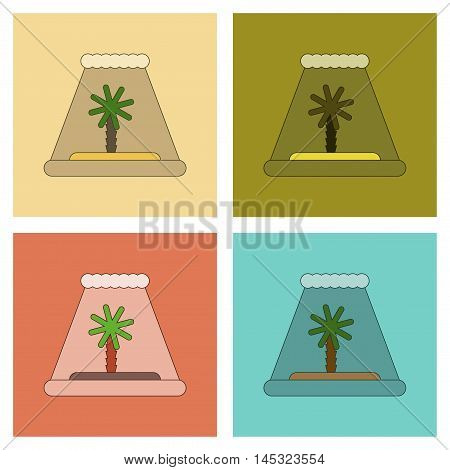 assembly of flat icons ocean tsunami Island, vector