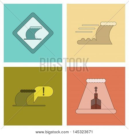 assembly of flat icons nature disaster tsunami, vector