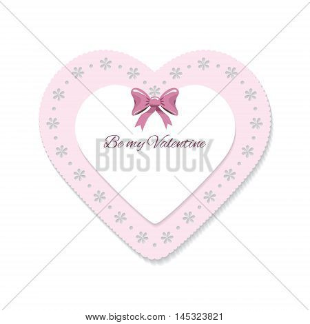Cute lacy heart. Girly scrapbook design. Valentines day sticker.