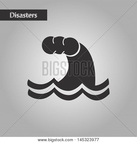black and white style natures tsunami danger, vector