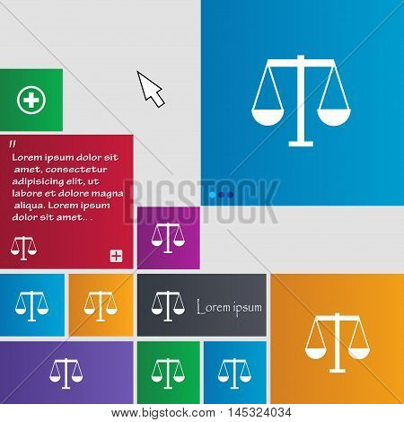 Scales Of Justice Icon Sign. Buttons. Modern Interface Website Buttons With Cursor Pointer. Vector