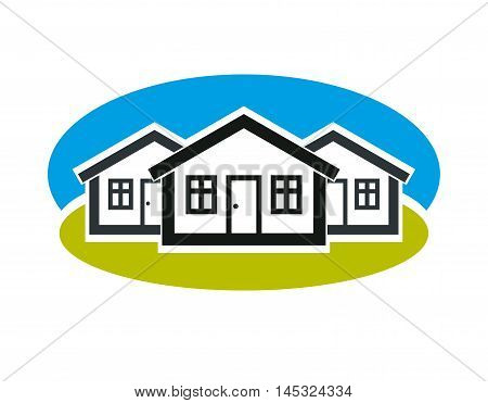 District vector conceptual illustration three simple houses. Houses art picture real estate theme.