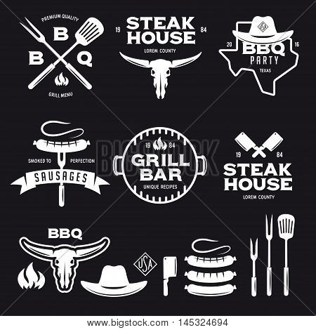 Set of barbecue steak house grill bar labels badges emblems and design elements. Bbq party poster. Grilled sausage on the fork. Cow skull. Cowboy hat. Kitchenware isolated. Vector vintage illustration.