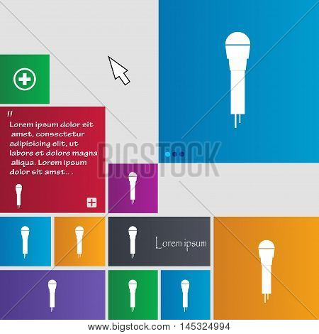 Microphone Icon Sign. Buttons. Modern Interface Website Buttons With Cursor Pointer. Vector