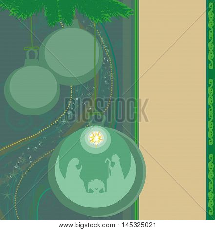 Christian Christmas nativity scene of baby Jesus in transparent ball hanging on abstract background , vector illustration