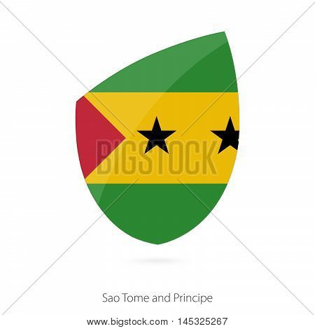 Flag of Sao Tome and Principe in the style of Rugby icon. Vector Illustration.