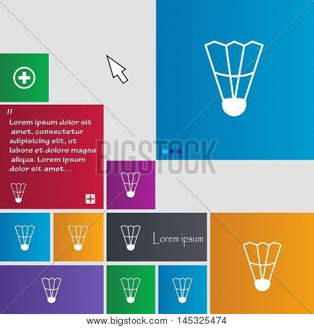 Shuttlecock Icon Sign. Buttons. Modern Interface Website Buttons With Cursor Pointer. Vector